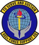 STICKER USAF 802nd Force Support Squadron Emblem