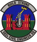 STICKER USAF 502nd Civil Engineer Squadron Emblem