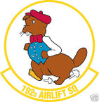 STICKER USAF 192ND AIRLIFT SQUADRON