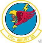 STICKER USAF 171ST AIRLIFT SQUADRON