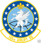 STICKER USAF 165TH AIRLIFT SQUADRON