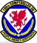 STICKER USAF 100th Comptroller Squadron Emblem
