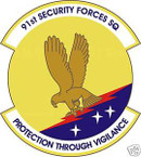 STICKER USAF  91ST SECURITY FORCES SQUADRON