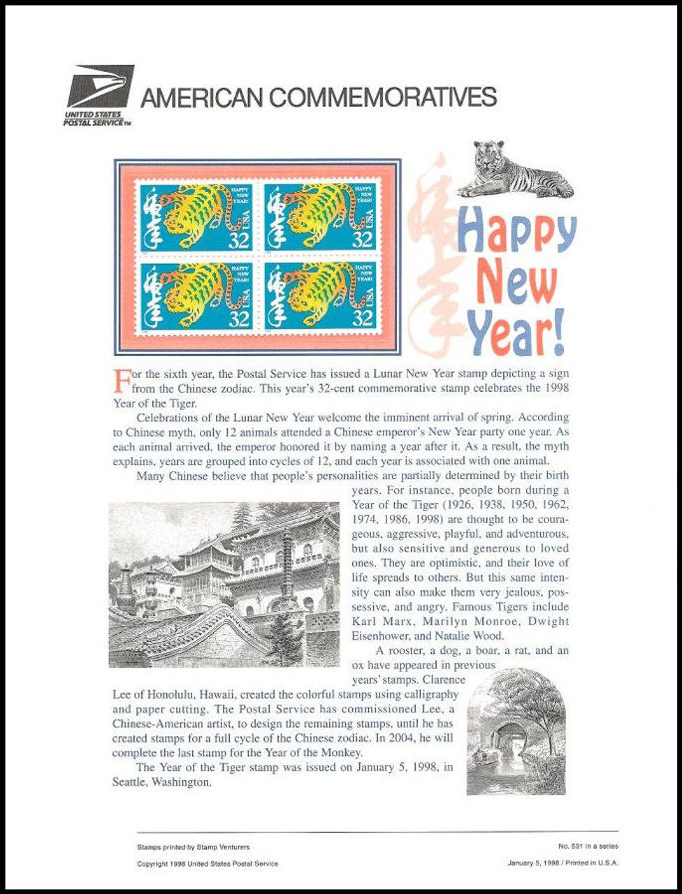 hover over image to magnify 3179 32c year of the tiger chinese new year 1998 usps american commemorative panel - Chinese New Year 1998