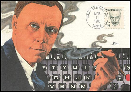 1856 / 14c Sinclair Lewis : Great Americans Series 1985 Fleetwood First Day of Issue Maximum Card