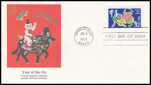 3120 32c year of the ox chinese new year 1997 fleetwood first day cover - Chinese New Year 1997