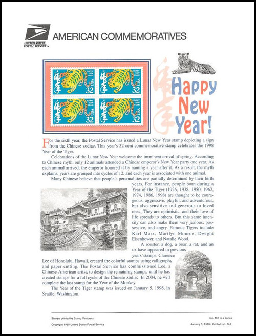 3179 32c year of the tiger chinese new year 1998 usps american commemorative panel - Chinese New Year 1998