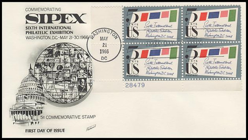 1310 / 5c Sipex Plate Block Lower Left 1966 Fleetwood FDC