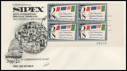 1310 / 5c Sipex Plate Block Lower Right 1966 Fleetwood FDC