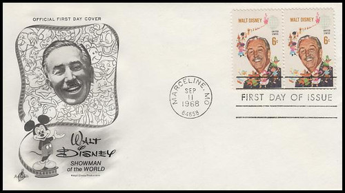 1355 / 6c Walt Disney Se-Tenant Pair Artcraft 1968 First Day Cover