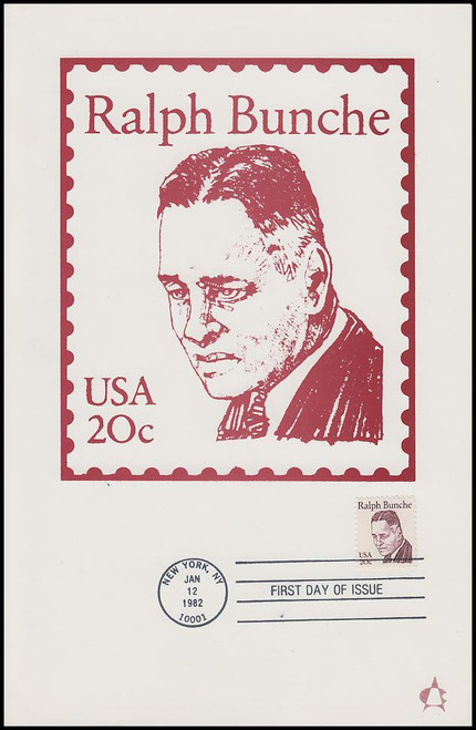 1860 / 20c Ralph Bunche : Great Americans Series 1982 Andrews Cachet Maxi Card FDC