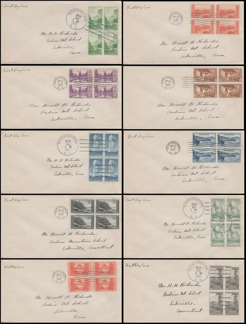 0756 - 0765 / 1c - 10c National Parks Imperforated Blocks Set of 10 Uncacheted Addressed 1935 FDCs