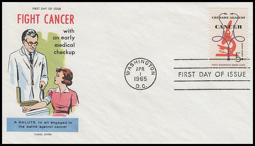 1263 / 5c Crusade Against Cancer 1965 Fluegel First Day Cover