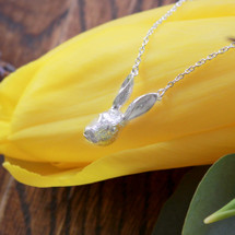 Sterling Silver Rabbit Head Hare Necklace