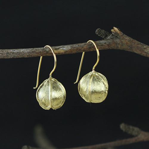 Gold Plated Sterling Silver Flower Bud Earrings