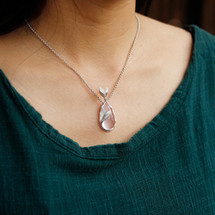 Sterling Silver and Rose Pink Quartz Teardrop Necklace