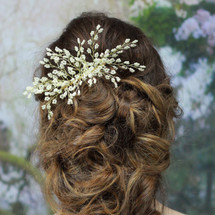 'Celeste' Statement Gold and Pearl Hair Comb