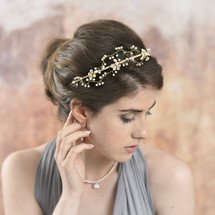 Jensen Gold Wired Full Bridal Headband