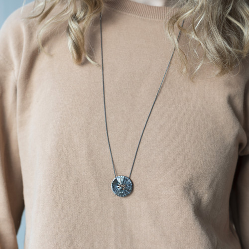 TUTTU_oxidised_silver_necklace_circular_round_long_pendant_handmade_Aurum_jewellery_Iceland