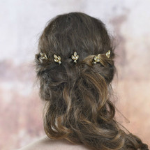 Jules Champagne Gold Bridal Hair Pins (Set of 5)