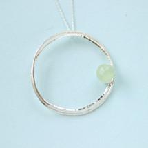 Tina Kotsoni - Sterling Silver Lake Green Chalcedony Stone Necklace