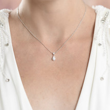 'Bertha' Dainty Teardrop Necklace and Earring Set