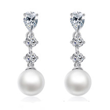 Sally Faux Pearl and CZ Crystal Drop Earrings