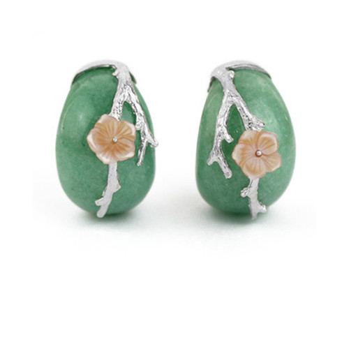 Chinese Green Jade Stone With Silver Earrings Cherry Blossom Stud