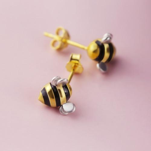 Shi_Kou_Er_Jiong_earrings_studs_bumble_bee_gold_plating_sterling_silver
