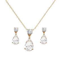 soft gold diamante wedding bridal evening earrings and necklace set