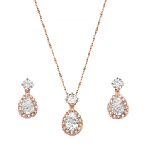 'Jamie' Rose Gold Plated Teardrop Jewellery Set