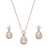 'Jamie' Rose Gold Plated Teardrop Jewellery Set