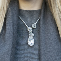 Silver Hand Embroidered Teardrop Swarovski Crystal Pendant Necklace