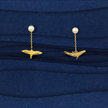 Shi Kou Er Jiong - Gold Vermeil Bird & Whale Mix and Match Pearl Drop Earrings