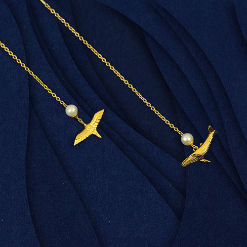 Shi Kou Er Jiong - Gold Vermeil Bird & Whale Mix and Match Earrings Threaders