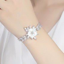 bridal_bracelet_mother_pearl_shell_flower_floral_leafy_jewellery_wedding