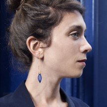 Chainettes Épineuses Silver Royal Blue Mash Threader Earrings