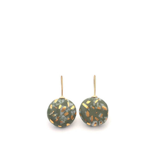 olive,green,ceramic, porcelain,gold,earrings, drop.artisan,jewellery