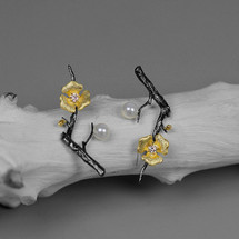 oxidised_sterling_silver_statement_earrings_gold_plated_flowers_branch_nature