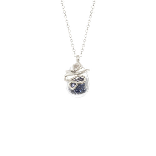 Catherine_Weitzman_necklace_handmade_snake_serpent_recycled_silver_dark_blue_crystal_shaker