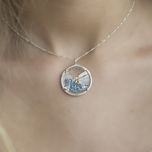 Catherine_Weitzman_necklace_handmade_recycled_sterling_silver_starfish_gold_vermeil_blue_crystals_branch_glass