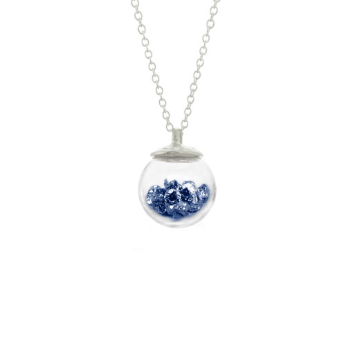necklace_handmade_Catherine_Weitzman_sapphire_blue_crystals_glass_globe_recycled_sterling_silver