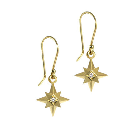 18 carat Gold Star Earrings with Diamonds