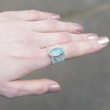 Tina_Kotsoni_ring_handmade_green_Chalcedony_stone_sterling_silver_hammered