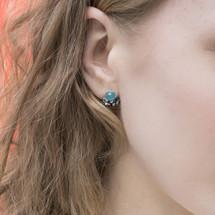 Tina_Kotsoni_earrings_studs_handmade_oxidised_silver_turquoise_gemstone
