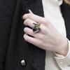 Tina_Kotsoni_handmade_jewellery_oxidised_silver_peridot_green_stone_unique_different_eye_catching_ring