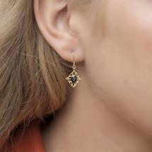 Hakuna_jewellery_gold_plating_black_onyx_diamond_shaped_drop_dangle_handmade_Japan