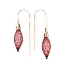 VLUM_Paris_handmade_earrings_dark_burgundy_red_rose_gold_plating_threader_pull_through_long_drop