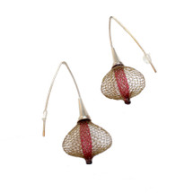VLUM_Paris_handmade_earrings_gold_plating_nylon_threads_brown_red_statement_Boucles_D'oreilles_Volubiles