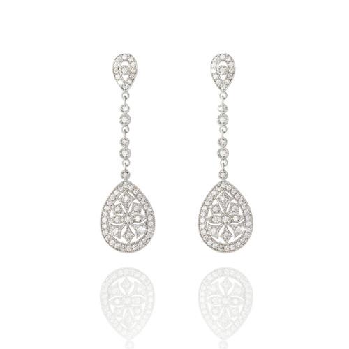 bridal earrings, bridal jewellery, bridesmaid jewellery, art deco, vintage styled, long, drop, large teardrop, eye-catching, wedding